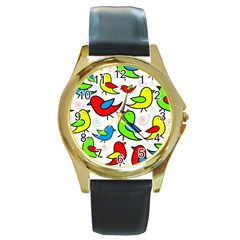 Colorful Cute Birds Pattern Round Gold Metal Watch by Valentinaart