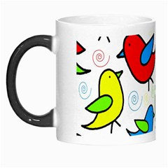 Colorful Cute Birds Pattern Morph Mugs by Valentinaart