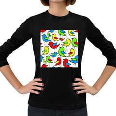 Colorful Cute Birds Pattern Women s Long Sleeve Dark T Shirts by Valentinaart