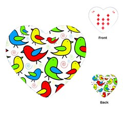 Colorful Cute Birds Pattern Playing Cards (heart)  by Valentinaart