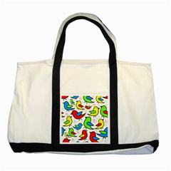 Colorful cute birds pattern Two Tone Tote Bag