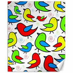 Colorful Cute Birds Pattern Canvas 16  X 20   by Valentinaart