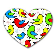 Colorful Cute Birds Pattern Heart Mousepads by Valentinaart