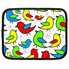 Colorful Cute Birds Pattern Netbook Case (large) by Valentinaart