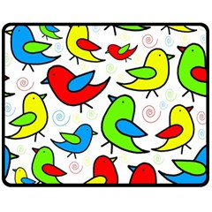 Colorful Cute Birds Pattern Fleece Blanket (medium)  by Valentinaart