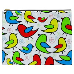 Colorful Cute Birds Pattern Cosmetic Bag (xxxl)  by Valentinaart