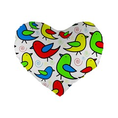 Colorful Cute Birds Pattern Standard 16  Premium Heart Shape Cushions by Valentinaart