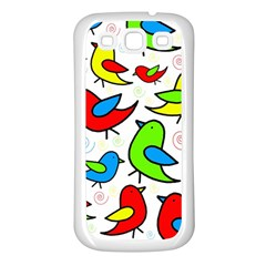 Colorful Cute Birds Pattern Samsung Galaxy S3 Back Case (white) by Valentinaart