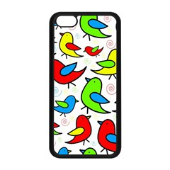 Colorful Cute Birds Pattern Apple Iphone 5c Seamless Case (black) by Valentinaart