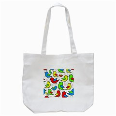 Colorful Cute Birds Pattern Tote Bag (white) by Valentinaart