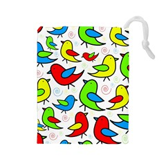 Colorful Cute Birds Pattern Drawstring Pouches (large)  by Valentinaart