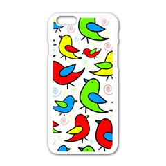 Colorful Cute Birds Pattern Apple Iphone 6/6s White Enamel Case by Valentinaart