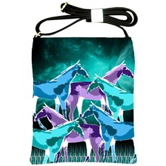 Horses Under A Galaxy Shoulder Sling Bag by DanaeStudio
