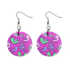 Pink Birds Pattern Mini Button Earrings by Valentinaart