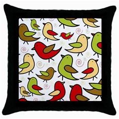 Decorative Birds Pattern Throw Pillow Case (black) by Valentinaart