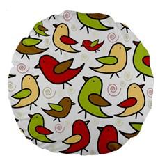 Decorative Birds Pattern Large 18  Premium Round Cushions by Valentinaart