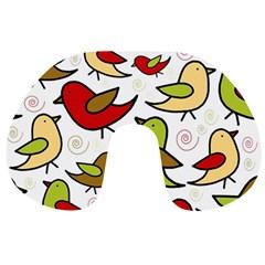 Decorative Birds Pattern Travel Neck Pillows by Valentinaart