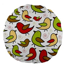 Decorative birds pattern Large 18  Premium Flano Round Cushions