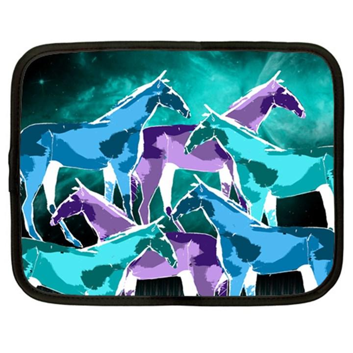 Horses under a galaxy Netbook Sleeve (Large)