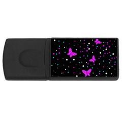Pink Butterflies  Usb Flash Drive Rectangular (4 Gb)  by Valentinaart
