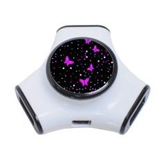 Pink butterflies  3-Port USB Hub by Valentinaart