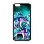 Horses under a galaxy Apple iPhone 6/6S Black Enamel Case Front