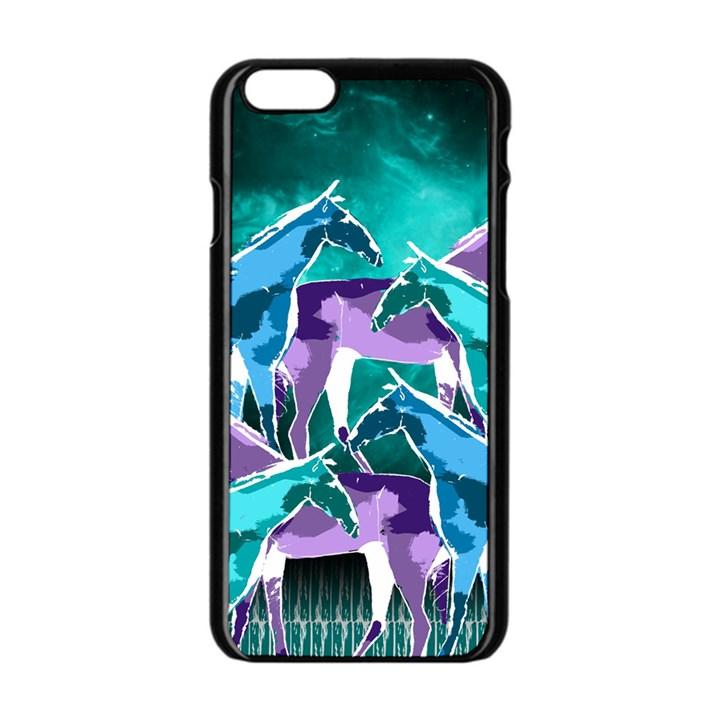 Horses under a galaxy Apple iPhone 6/6S Black Enamel Case