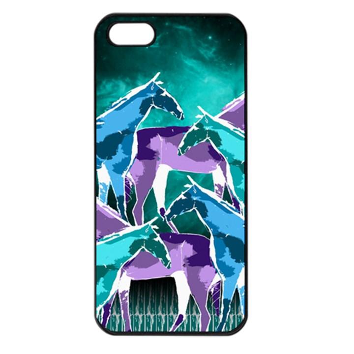Horses under a galaxy Apple iPhone 5 Seamless Case (Black)
