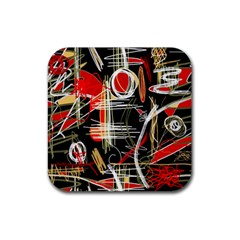 Artistic Abstract Pattern Rubber Square Coaster (4 Pack)  by Valentinaart