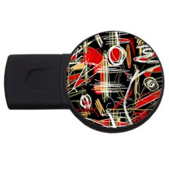 Artistic Abstract Pattern Usb Flash Drive Round (4 Gb)  by Valentinaart