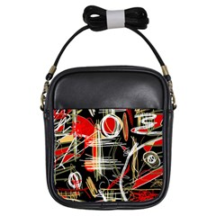 Artistic Abstract Pattern Girls Sling Bags by Valentinaart