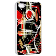 Artistic Abstract Pattern Apple Iphone 4/4s Seamless Case (white) by Valentinaart