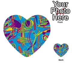 Colorful Abstract Pattern Multi Purpose Cards (heart)  by Valentinaart