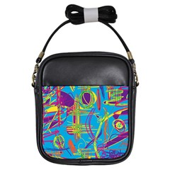 Colorful abstract pattern Girls Sling Bags by Valentinaart