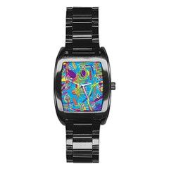 Colorful Abstract Pattern Stainless Steel Barrel Watch by Valentinaart