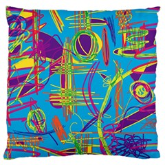 Colorful Abstract Pattern Large Flano Cushion Case (two Sides) by Valentinaart