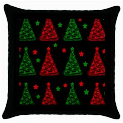 Decorative Christmas Trees Pattern Throw Pillow Case (black) by Valentinaart