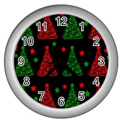 Decorative Christmas Trees Pattern Wall Clocks (silver)  by Valentinaart