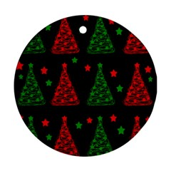 Decorative Christmas Trees Pattern Round Ornament (two Sides)  by Valentinaart