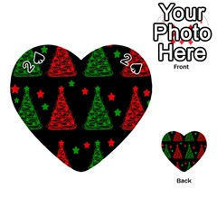 Decorative Christmas Trees Pattern Playing Cards 54 (heart)  by Valentinaart