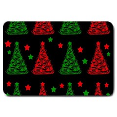 Decorative Christmas Trees Pattern Large Doormat  by Valentinaart