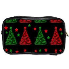 Decorative Christmas Trees Pattern Toiletries Bags by Valentinaart