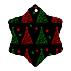 Decorative Christmas trees pattern Snowflake Ornament (2-Side)