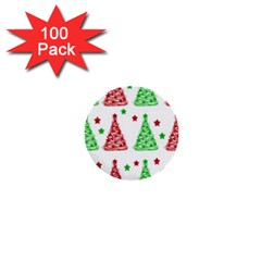 Decorative Christmas Trees Pattern   White 1  Mini Buttons (100 Pack)  by Valentinaart