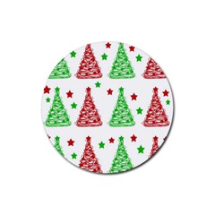 Decorative Christmas Trees Pattern   White Rubber Round Coaster (4 Pack)  by Valentinaart