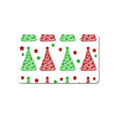 Decorative Christmas Trees Pattern   White Magnet (name Card) by Valentinaart