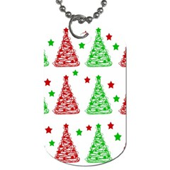 Decorative Christmas Trees Pattern   White Dog Tag (two Sides) by Valentinaart