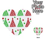 Decorative Christmas trees pattern - White Multi-purpose Cards (Heart)  Back 9