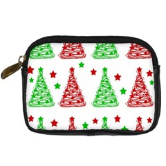 Decorative Christmas Trees Pattern   White Digital Camera Cases by Valentinaart