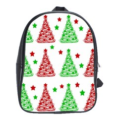 Decorative Christmas Trees Pattern   White School Bags(large)  by Valentinaart
